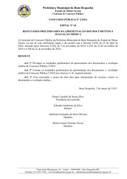 Resultados Preliminares da Documentação e Avaliação