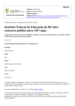 Instituto Federal de Educação do RS abre concurso público
