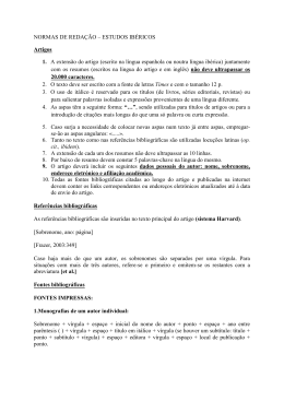 NORMAS DE REDAÇÃO – ESTUDOS IBÉRICOS Artigos 1. A