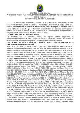 MINISTÉRIO PÚBLICO DA UNIÃO 7º CONCURSO
