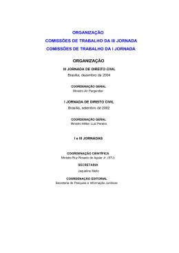 ORGANIZAÇÃO COMISSÕES DE TRABALHO DA III JORNADA