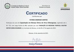 FATIMA ANDRADE SANTOS Participou do curso de - FMT-AM