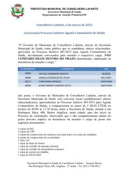 Convocação Processo Seletivo Agente Comunitário de Saúde