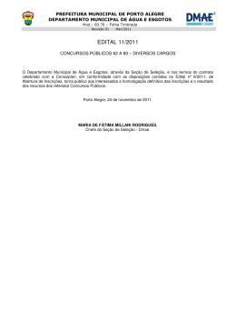 Edital 11/2011 - homologação definitiva das inscrições