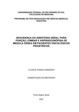 SEGURANÇA DA ANESTESIA GERAL PARA PUNÇÃO LOMBAR E