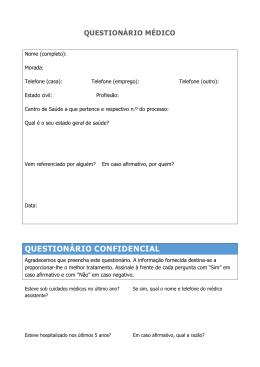 Questionário médico aqui - Clínica Dentária Jardim dos Arcos