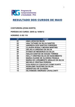 RESULTADO DOS CURSOS DE MAIO