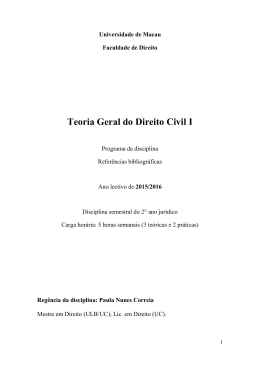 LAWS110 Teoria Geral do Direito Civil I (Year 2015/2016)