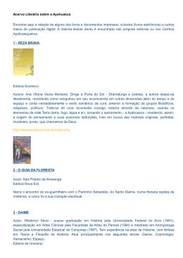 Acervo Literário sobre a Ayahuasca Encontre aqui a relação