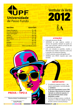 PROVA – TIPO A - Vestibular UPF
