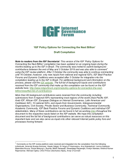 `IGF Policy Options for Connecting the Next Billion` Draft