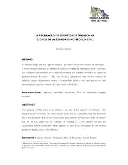 A RECRIAÇÃO DA IDENTIDADE JUDAICA NA CIDADE DE