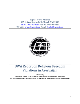 BWA Report on Religious Freedom Violations in Azerbaijan, 2013
