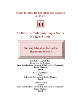 ATINER`s Conference Paper Series NUR2015-1461