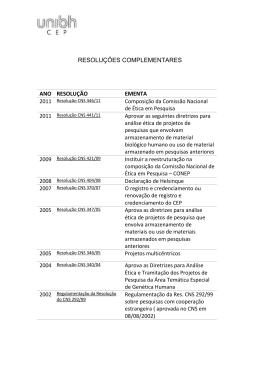 resoluções complementares ano resolução ementa - Uni-BH