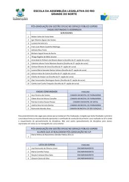 Ata de Seleção de Candidatos - Pós Gestão Eficaz no Serviço Público