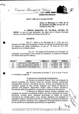 ÿþL e i   1 . 8 8 3 - Câmara de Vereadores de Valença