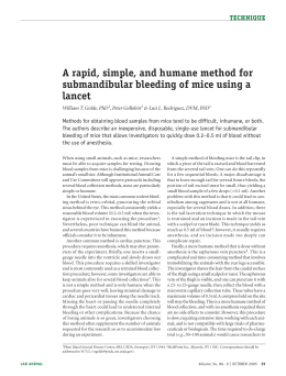 A rapid, simple, and humane method for submandibular bleeding of