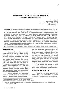 prevalence of hiv1 in leprosy patients in rio de janeiro, brazil