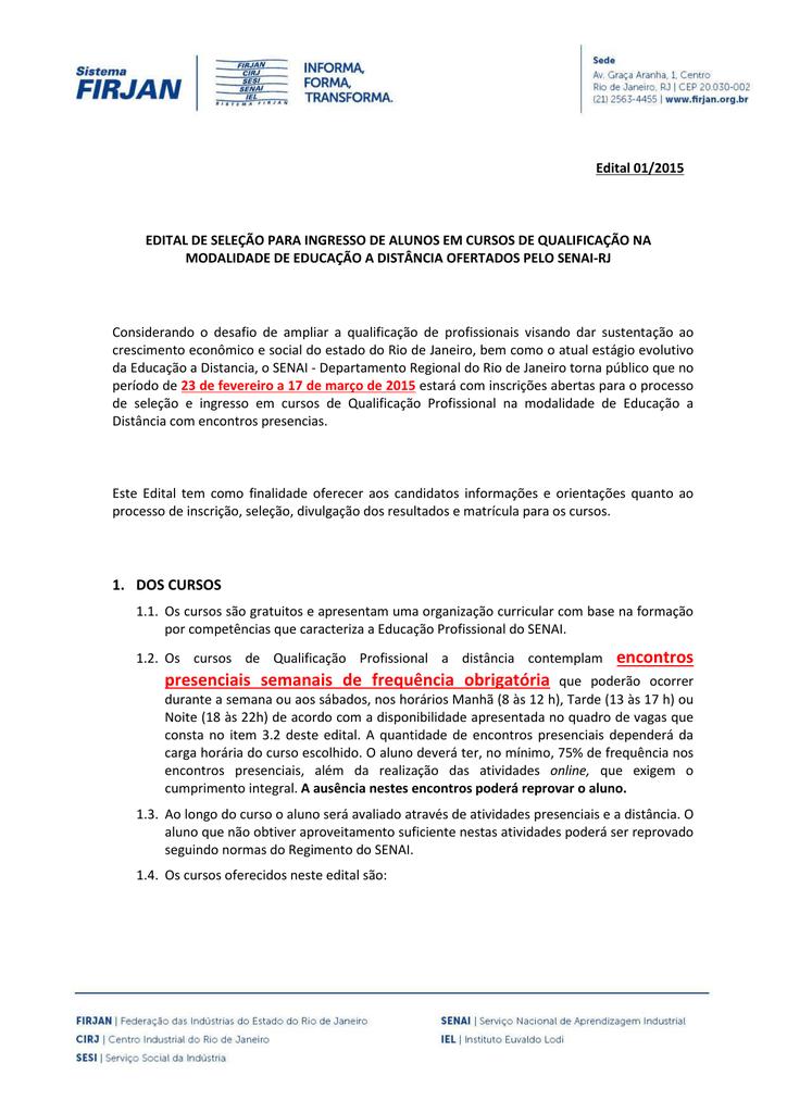 edital cursos senai rio002 Curso Do Senai 2015 #3