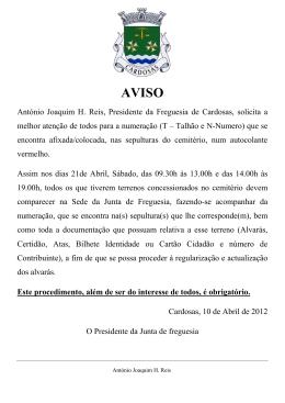 António Joaquim H. Reis, Presidente da Freguesia de Cardosas