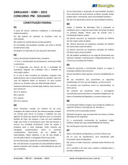 SIMULADO – IOBV – 2015 CONCURSO: PM - SOLDADO