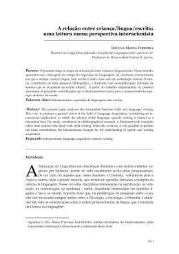 A relação entre criança/língua/escrita: uma - ALPHA
