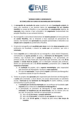 NORMAS SOBRE A MONOGRAFIA DE CONCLUSÃO DO CURSO