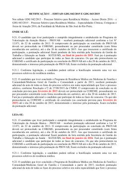 RETIFICAÇÃO I – EDITAIS GDG 042/2015 E GDG 043/2015 Nos