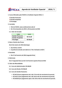 Agenda do Vestibular Especial 2016 / 1