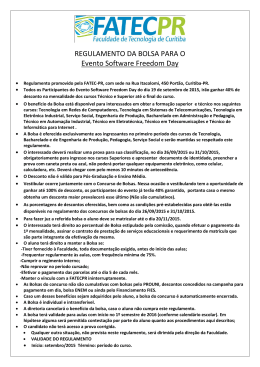 REGULAMENTO DA BOLSA PARA O Evento Software Freedom Day