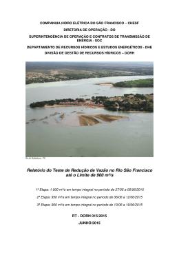 Relatório do Teste de Redução de Vazão no Rio São