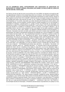 Associação dos Moradores do Jardim Florença www.amojaf.com.br