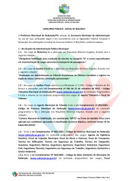 CONCURSO PÚBLICO - EDITAL Nº 002/2013 A