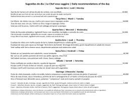 Sugestões do dia | Le Chef vous suggère | Daily recommendations