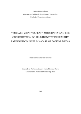 """you are what you eat"": modernity and the construction of self"