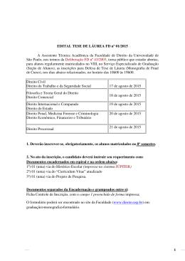 EDITAL TESE DE LÁUREA FD nº 01/2015 A Assistente Técnica