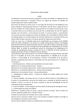 AVISO Procedimento concursal - Junta de Freguesia de Santo André