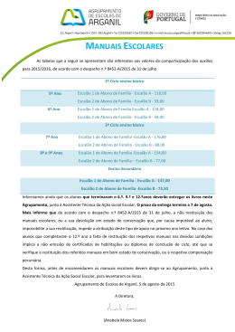 MANUAIS ESCOLARES - Agrupamento de Escolas de Arganil