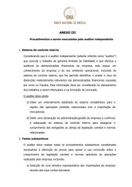 Anexo III - Procedimentos a serem executados pelo auditor