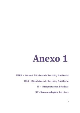 NTRA – Normas Técnicas de Revisão/ Auditoria DRA