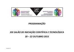 PROGRAMAÇÃO XXI SALÃO DE INICIAÇÃO CIENTÍFICA E