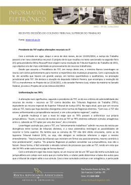 www.tst.jus.br Presidente do TST explica alterações recursa