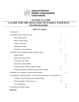 a guide for the selection of energy efficient technologies