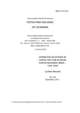 TEXTOS PARA DISCUSSÃO UFF/ECONOMIA