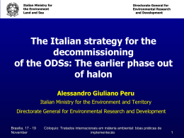 The Italian strategy for the decommissioning of the ODSs