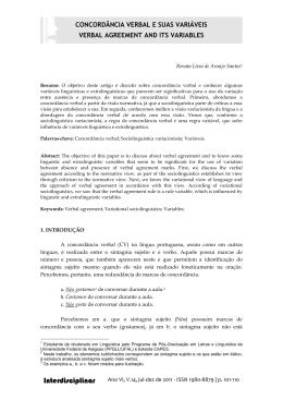 A VARIAÇÃO NO USO DA CONCORDÂNCIA VERBAL