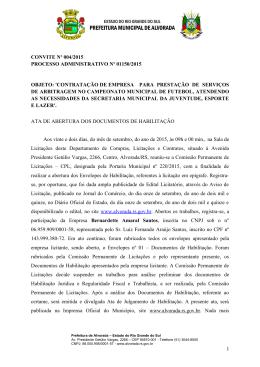 convite nº 004/2015 processo administrativo nº 01150/2015 objeto