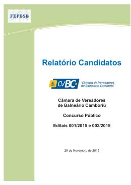 Relatório Candidatos - Câmara de Vereadores de Balneário