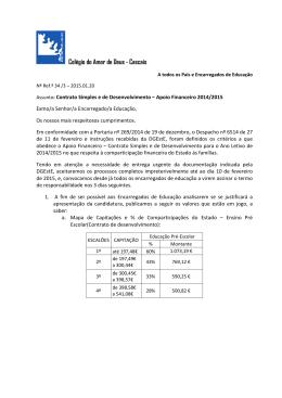 Apoio Financeiro 2014/2015 - Colégio do Amor de Deus – Cascais